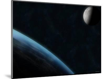 Earth and the Moon-Stocktrek Images-Mounted Photographic Print