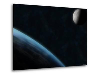 Earth and the Moon-Stocktrek Images-Metal Print