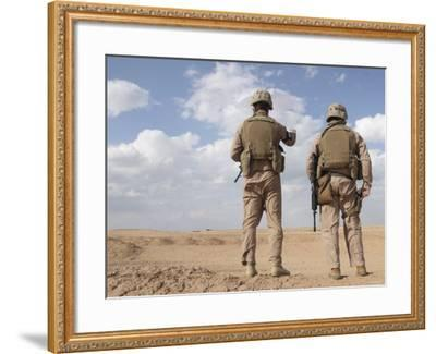 Marines Scan the Horizon for Insurgent Activity During a Security Patrol-Stocktrek Images-Framed Photographic Print