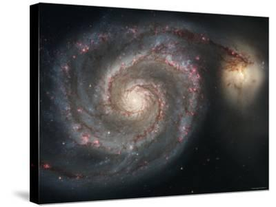 The Whirlpool Galaxy (M51) and Companion Galaxy-Stocktrek Images-Stretched Canvas Print