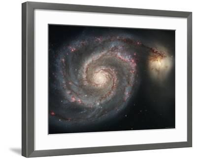 The Whirlpool Galaxy (M51) and Companion Galaxy-Stocktrek Images-Framed Photographic Print