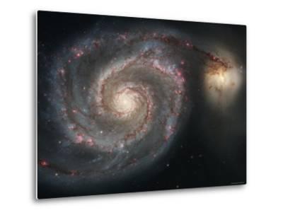 The Whirlpool Galaxy (M51) and Companion Galaxy-Stocktrek Images-Metal Print