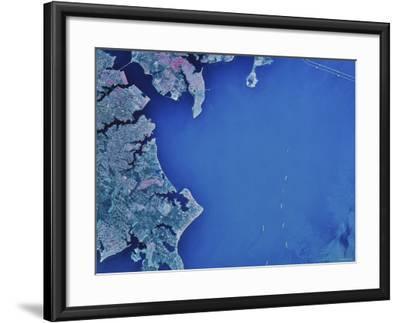 Satellite Image of Chesapeake Bay and Annapolis, Maryland-Stocktrek Images-Framed Photographic Print