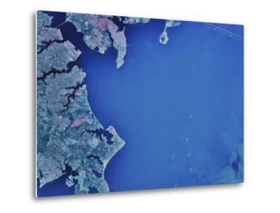 Satellite Image of Chesapeake Bay and Annapolis, Maryland-Stocktrek Images-Metal Print