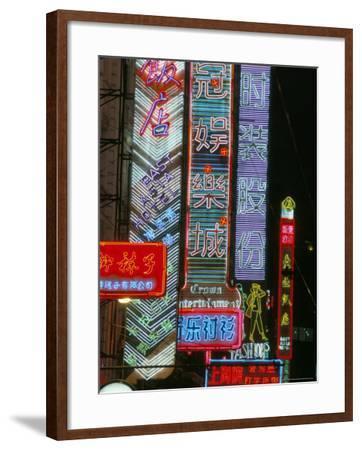 Neon Signs at Night, Nanjing Road, Shanghai, China-Charles Bowman-Framed Photographic Print