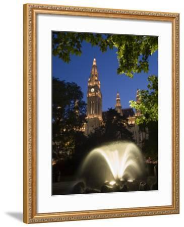 City Hall at Dusk with Fountain in Foreground, Vienna, Austria-Charles Bowman-Framed Photographic Print
