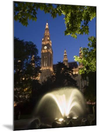 City Hall at Dusk with Fountain in Foreground, Vienna, Austria-Charles Bowman-Mounted Photographic Print