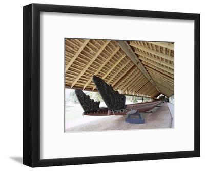 War Canoe (Ngatokimatawhaorua in Maori Language), 35M Long, 80 Rowers, Waitangi National Reserve-Jeremy Bright-Framed Photographic Print