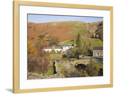 Old Stone Packhorse Bridge Over Watendlath Beck with Dry Stone Wall and Farm Buildings-Pearl Bucknall-Framed Photographic Print
