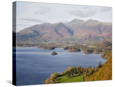 View Across Derwent Water to Keswick and Skiddaw from Watendlath Road in Autumn-Pearl Bucknall-Stretched Canvas Print