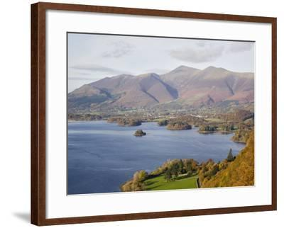 View Across Derwent Water to Keswick and Skiddaw from Watendlath Road in Autumn-Pearl Bucknall-Framed Photographic Print