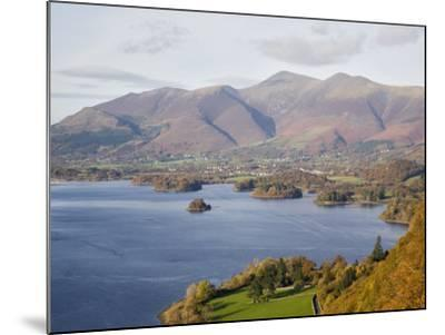 View Across Derwent Water to Keswick and Skiddaw from Watendlath Road in Autumn-Pearl Bucknall-Mounted Photographic Print