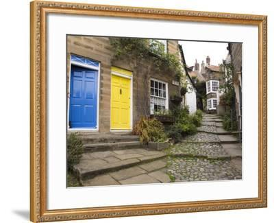 Yellow and Blue Doors on Houses in the Opening, Robin Hood's Bay, England-Pearl Bucknall-Framed Photographic Print