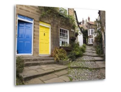 Yellow and Blue Doors on Houses in the Opening, Robin Hood's Bay, England-Pearl Bucknall-Metal Print