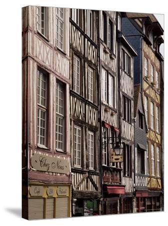 Timber-Framed Houses and Shops in the Restored City Centre, Rouen, Haute Normandie, France-Pearl Bucknall-Stretched Canvas Print
