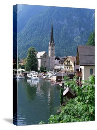 Village and Lake, Hallstatt, Austrian Lakes, Austria-Jean Brooks-Stretched Canvas Print