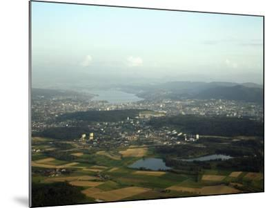 Aerial View of the City, Lakes and Surrounding Hills, Zurich, Switzerland-Jean-luc Brouard-Mounted Photographic Print