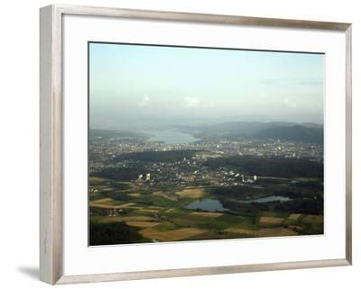 Aerial View of the City, Lakes and Surrounding Hills, Zurich, Switzerland-Jean-luc Brouard-Framed Photographic Print