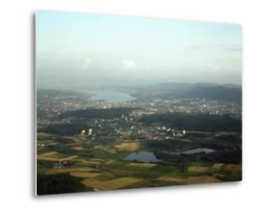 Aerial View of the City, Lakes and Surrounding Hills, Zurich, Switzerland-Jean-luc Brouard-Metal Print