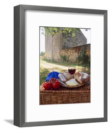 Picnic Lunch of Bread, Cheese, Tomatoes and Red Wine on a Hamper in the Dordogne, France-Michael Busselle-Framed Photographic Print