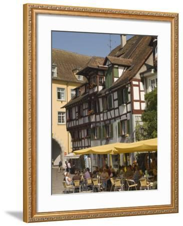 Pavement Cafe in Main Square, Meersberg, Lake Constance, Germany-James Emmerson-Framed Photographic Print