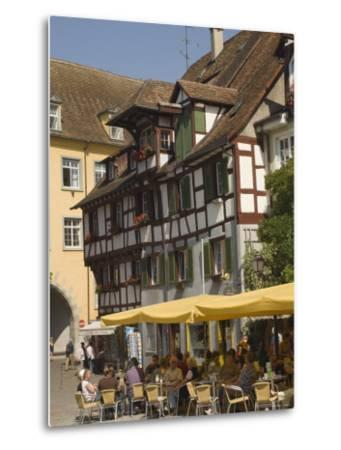 Pavement Cafe in Main Square, Meersberg, Lake Constance, Germany-James Emmerson-Metal Print