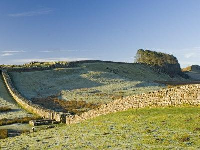 Hadrians Wall with Civilian Gate, a Unique Feature, and Housesteads Fort, Northumbria, England-James Emmerson-Framed Photographic Print