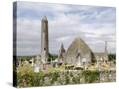 Kilmacdaugh Churches and Round Tower, Near Gort, County Galway, Connacht, Republic of Ireland-Gary Cook-Stretched Canvas Print