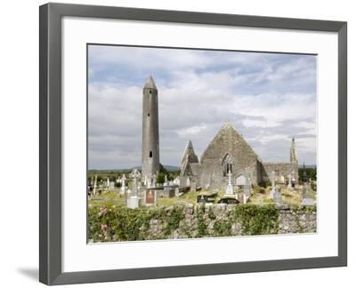 Kilmacdaugh Churches and Round Tower, Near Gort, County Galway, Connacht, Republic of Ireland-Gary Cook-Framed Photographic Print
