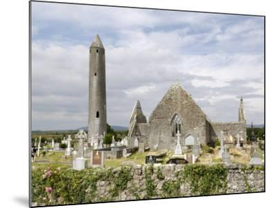 Kilmacdaugh Churches and Round Tower, Near Gort, County Galway, Connacht, Republic of Ireland-Gary Cook-Mounted Photographic Print