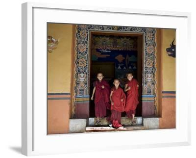 Buddhist Monks, Paro Dzong, Paro, Bhutan-Angelo Cavalli-Framed Photographic Print