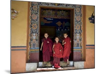 Buddhist Monks, Paro Dzong, Paro, Bhutan-Angelo Cavalli-Mounted Photographic Print