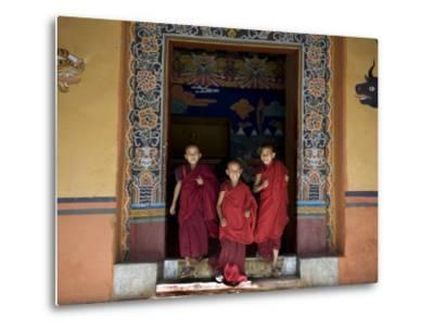Buddhist Monks, Paro Dzong, Paro, Bhutan-Angelo Cavalli-Metal Print