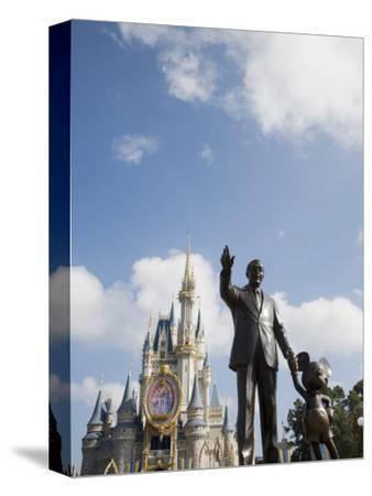 Statue of Walt Disney and Micky Mouse at Disney World, Orlando, Florida, USA-Angelo Cavalli-Stretched Canvas Print