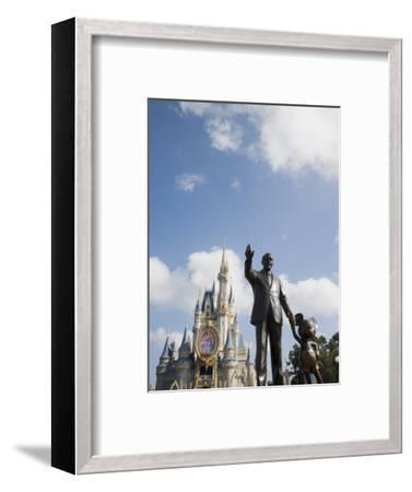 Statue of Walt Disney and Micky Mouse at Disney World, Orlando, Florida, USA-Angelo Cavalli-Framed Photographic Print