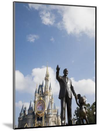 Statue of Walt Disney and Micky Mouse at Disney World, Orlando, Florida, USA-Angelo Cavalli-Mounted Photographic Print