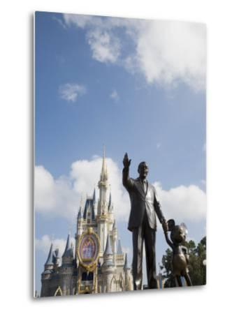 Statue of Walt Disney and Micky Mouse at Disney World, Orlando, Florida, USA-Angelo Cavalli-Metal Print