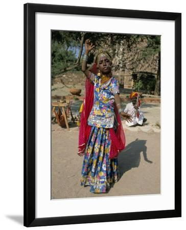 Portrait of a Child Dancer in the Fort, Jodhpur, Rajasthan State, India-Robert Harding-Framed Photographic Print
