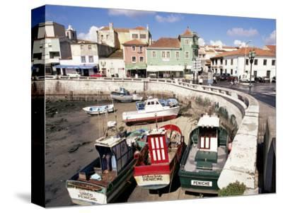 Fishing Boats at Low Tide, Peniche, Estremadura, Portugal-Ken Gillham-Stretched Canvas Print