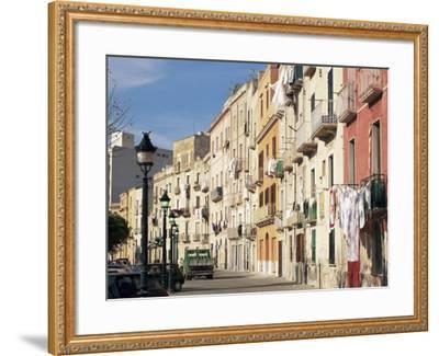 House Fronts and Laundry, Trapani, Sicily, Italy-Ken Gillham-Framed Photographic Print