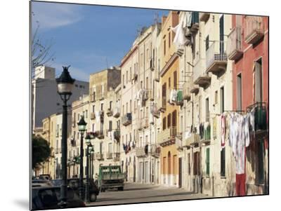 House Fronts and Laundry, Trapani, Sicily, Italy-Ken Gillham-Mounted Photographic Print