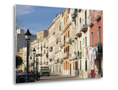 House Fronts and Laundry, Trapani, Sicily, Italy-Ken Gillham-Metal Print