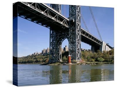 Little Red Lighthouse Under George Washington Bridge, New York, USA-Peter Scholey-Stretched Canvas Print