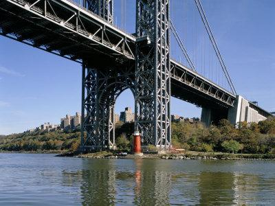 Little Red Lighthouse Under George Washington Bridge, New York, USA-Peter Scholey-Premium Photographic Print