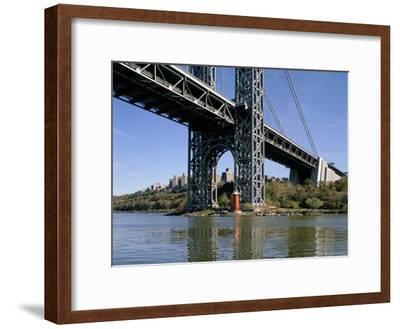 Little Red Lighthouse Under George Washington Bridge, New York, USA-Peter Scholey-Framed Premium Photographic Print