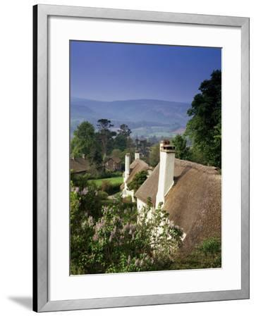 Thatched Cottages at Selworthy Green, with Exmoor Beyond, Somerset, England, United Kingdom-Chris Nicholson-Framed Photographic Print