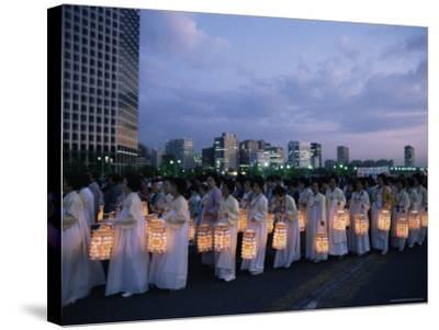Lantern Parade at Beginning of Buddha's Birthday Evening, Yoido Island, Seoul, Korea-Alain Evrard-Stretched Canvas Print