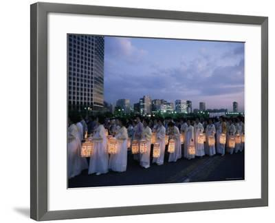 Lantern Parade at Beginning of Buddha's Birthday Evening, Yoido Island, Seoul, Korea-Alain Evrard-Framed Photographic Print