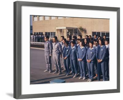 Workers Singing Firm's Song, Matsushita Electric, Japan-David Lomax-Framed Photographic Print