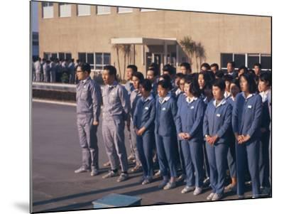 Workers Singing Firm's Song, Matsushita Electric, Japan-David Lomax-Mounted Photographic Print